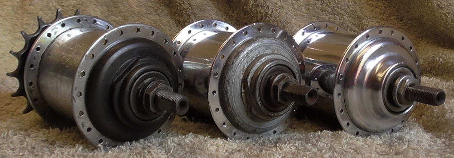 AW Sturmey Archer Hubs of different styles from three different periods